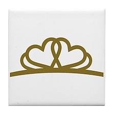 Golden Diadem Tiara Tile Coaster