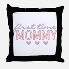 Girly First Time Mommy Throw Pillow
