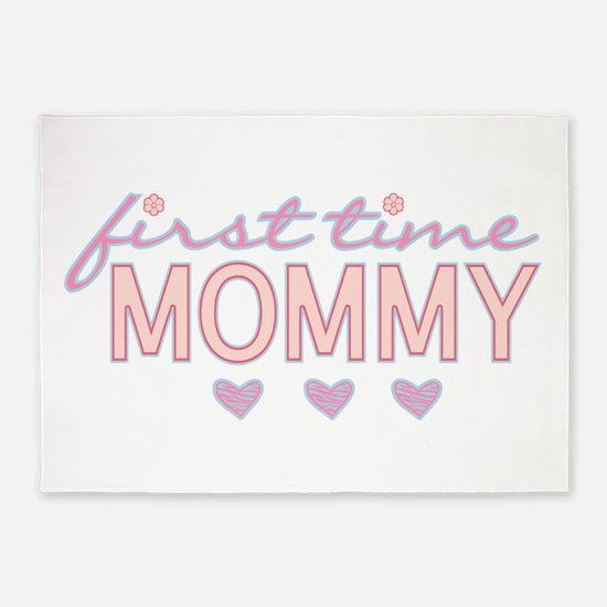 Girly First Time Mommy 5'x7'Area Rug