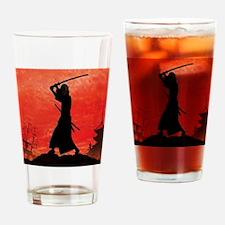 Samurai sunset posing Drinking Glass