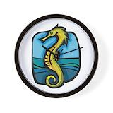 Animal seahorse Wall Clocks