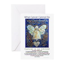 Blue & Gold Cancer Angel Greeting Cards (Pk of 10)