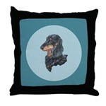 Longhaired Dachshund Throw Pillow