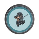 Longhaired Dachshund Wall Clock