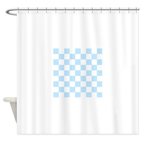 light blue and white check shower curtain by admin cp49789583. Black Bedroom Furniture Sets. Home Design Ideas