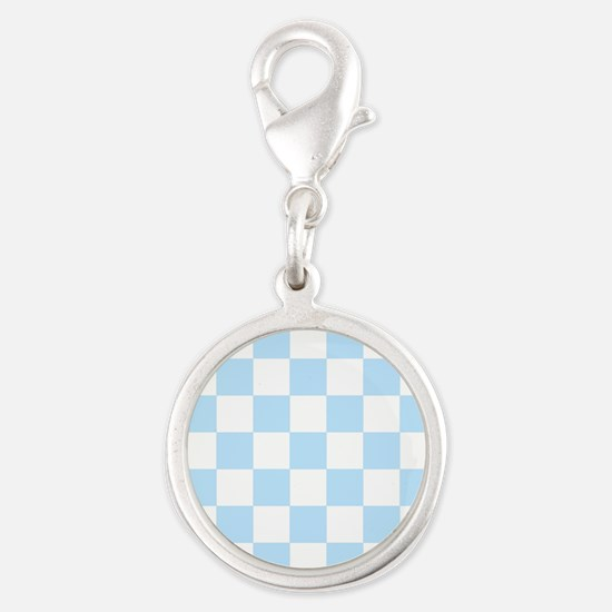 Light Blue and white Check Charms