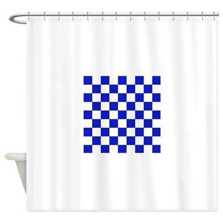 Dark Blue And White Check Shower Curtain By Admin CP49789583