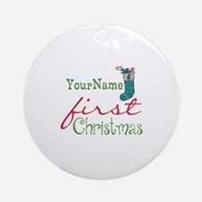 Personalized Name First Christmas Ornament (Round)