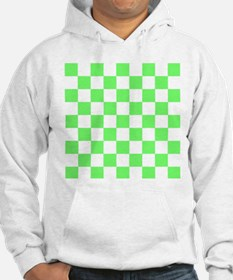 Neon Green and white Check Hoodie