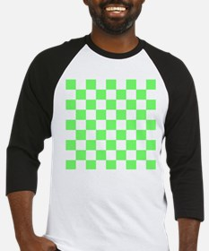 Neon Green and white Check Baseball Jersey