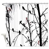 Birds black and white Shower Curtains