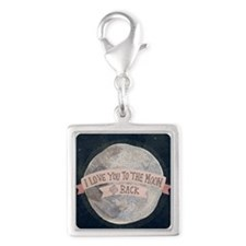 I love you to the moon and ba Silver Square Charm