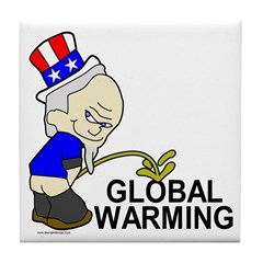 Piss On Global Warming Tile Coaster