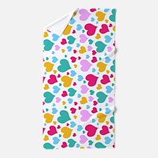 Cute Colorful Hearts Beach Towel
