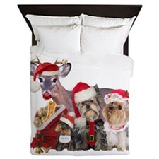 Yorkshire Terrier Santa Family Queen Duvet