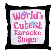 Worlds Cutest Karaoke Singer Throw Pillow