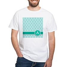 Letter A turquoise quatrefoil monogram T-Shirt