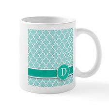Letter D turquoise quatrefoil monogram Mugs