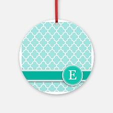 Letter E turquoise quatrefoil monogram Ornament (R