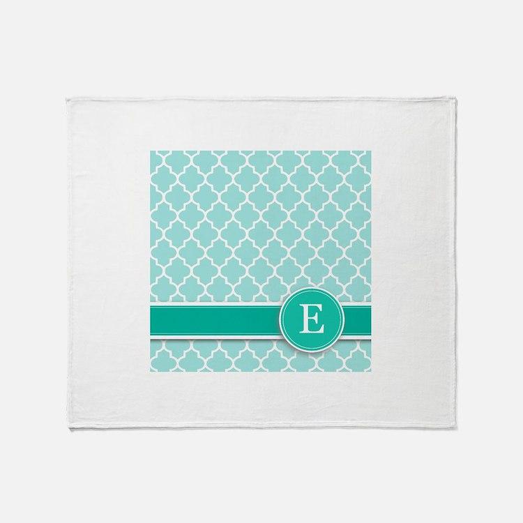 Letter E turquoise quatrefoil monogram Throw Blank