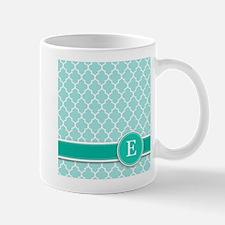 Letter E turquoise quatrefoil monogram Mugs