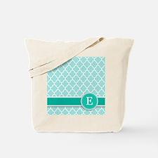 Letter E turquoise quatrefoil monogram Tote Bag