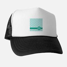 Letter E turquoise quatrefoil monogram Trucker Hat