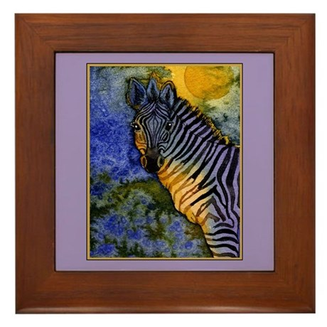Gold Moon Zebra Framed Tile