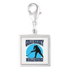 Girl's Hockey Silver Square Charm
