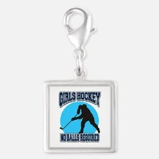 Girl's Hockey Silver Square Charm