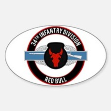 34th Infantry CIB Sticker (Oval)