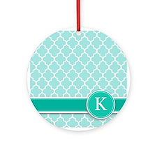 Letter K turquoise quatrefoil monogram Ornament (R