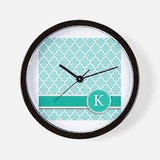 Letter K turquoise quatrefoil monogram Wall Clock