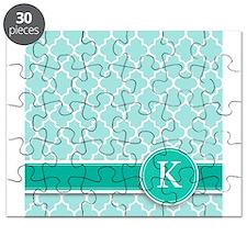 Letter K turquoise quatrefoil monogram Puzzle