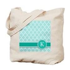 Letter K turquoise quatrefoil monogram Tote Bag