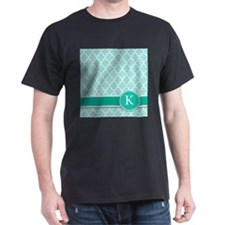 Letter K turquoise quatrefoil monogram T-Shirt