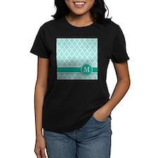 Letter M turquoise quatrefoil monogram T-Shirt