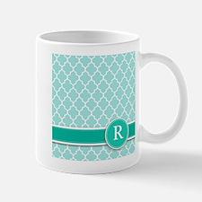 Letter R turquoise quatrefoil monogram Mugs