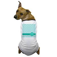 Letter T turquoise quatrefoil monogram Dog T-Shirt
