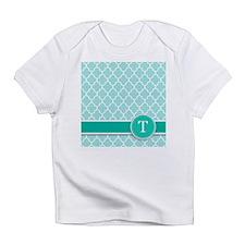 Letter T turquoise quatrefoil monogram Infant T-Sh
