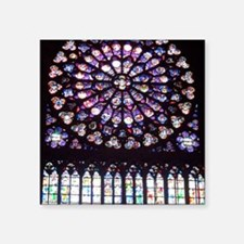 "Notre Dame Window Square Sticker 3"" x 3"""