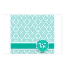 Letter W turquoise quatrefoil monogram Postcards (