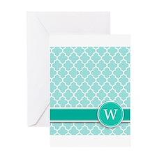 Letter W turquoise quatrefoil monogram Greeting Ca