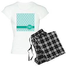 Letter W turquoise quatrefoil monogram Pajamas