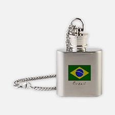 Brazil (Flag, International) Flask Necklace