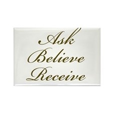 Gold Script Ask Believe Receive Rectangle Magnet