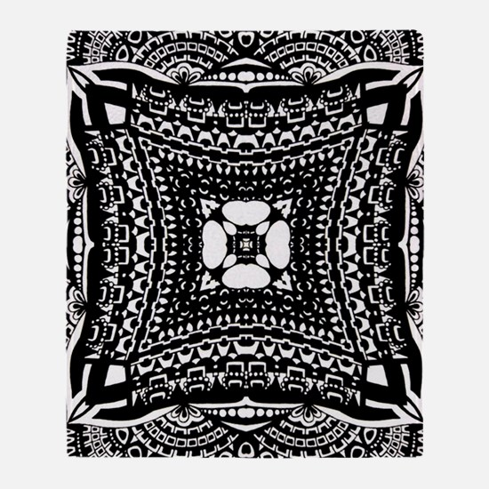 Elaborate Black and White Pattern Throw Blanket