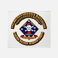 1st - Reconnaissance Bn With Text USMC Throw Blank