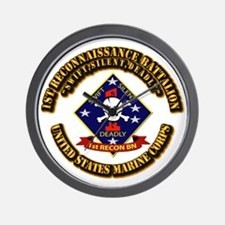 1st - Reconnaissance Bn With Text USMC Wall Clock