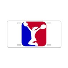 USA Red and Blue Cheerleader Aluminum License Plat
